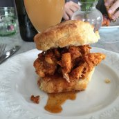 Porcellino's chicken fried biscuit