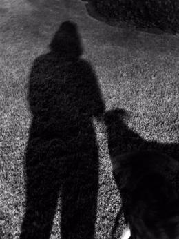 bw girl and dog
