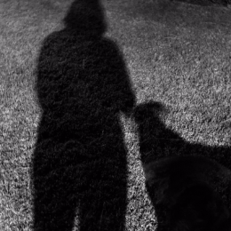 bw girl and dog