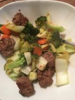 Orange-less meatballs w bok choy, carrots & broccoli