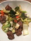 Orange-less meatballs w bok choy, carrots & broccoli